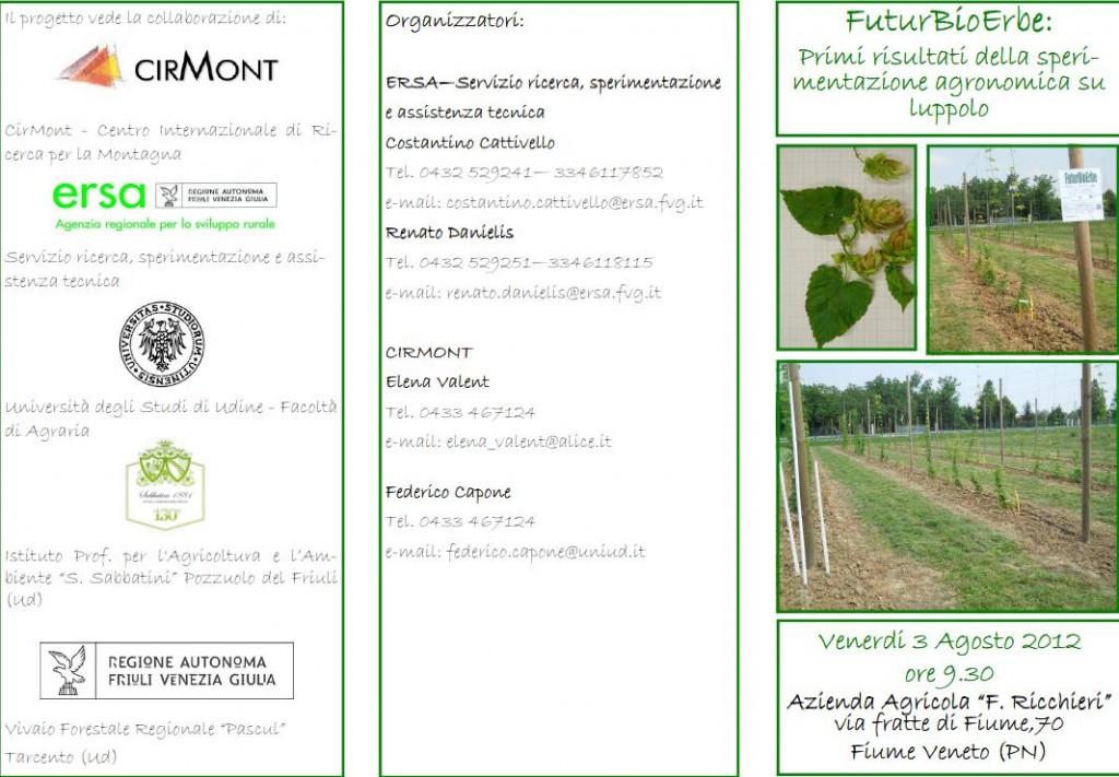 Cirmont: progetto FuturBioErbe, presentazione sperimentazione agronomica sul luppolo