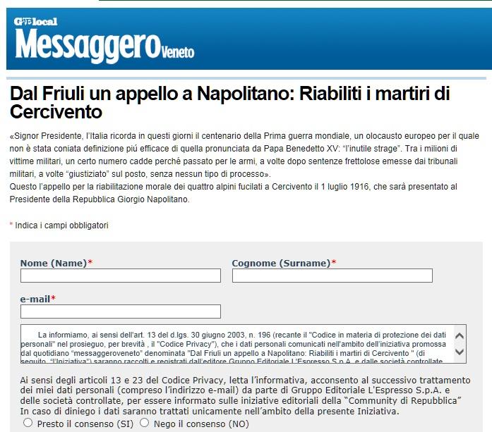 """Carnia: firma la petizione on-line per la riabilitazione dei """"fusilâz"""" di Cercivento"""
