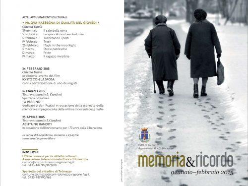 Tolmezzo: eventi per la Giornata della Memoria, il Giorno del Ricordo,  Giornata della Memoria e dell'Impegno