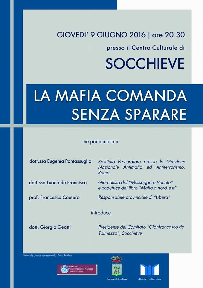 """Socchieve: """"La mafia comanda senza sparare"""", incontro presso il centro culturale"""