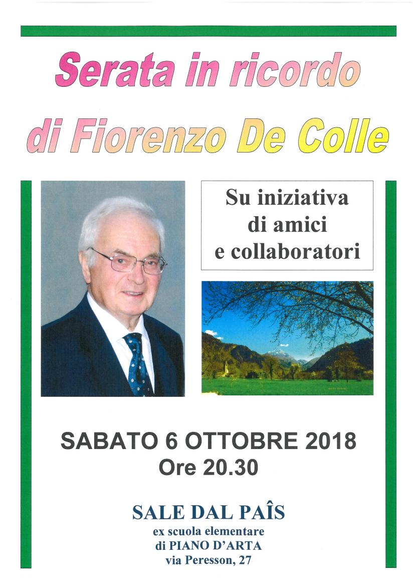 Piano d'Arta: serata in ricordo di Fiorenzo De Colle